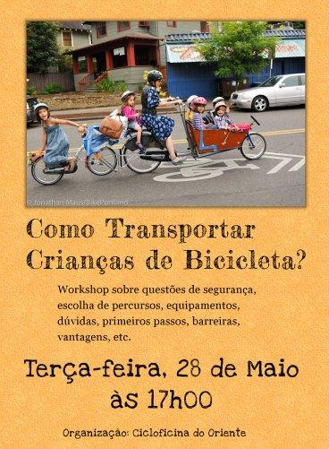workshop transportar crianças em bicicleta - cartaz
